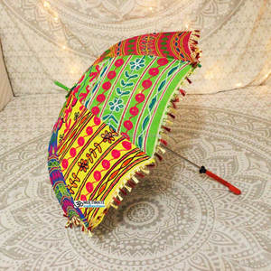 Wholesale Folding Bohemian Umbrella Hand Embroidered Cotton Parasol Lace Umbrella Handmade
