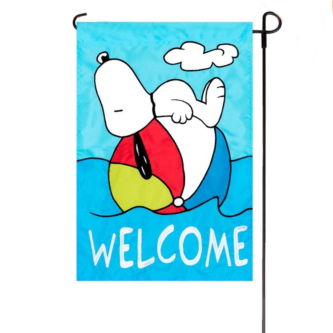 3aec9c52ebca36 Get Quotations · Summer Peanuts Welcome Embroidered   Applique Garden Flag  12