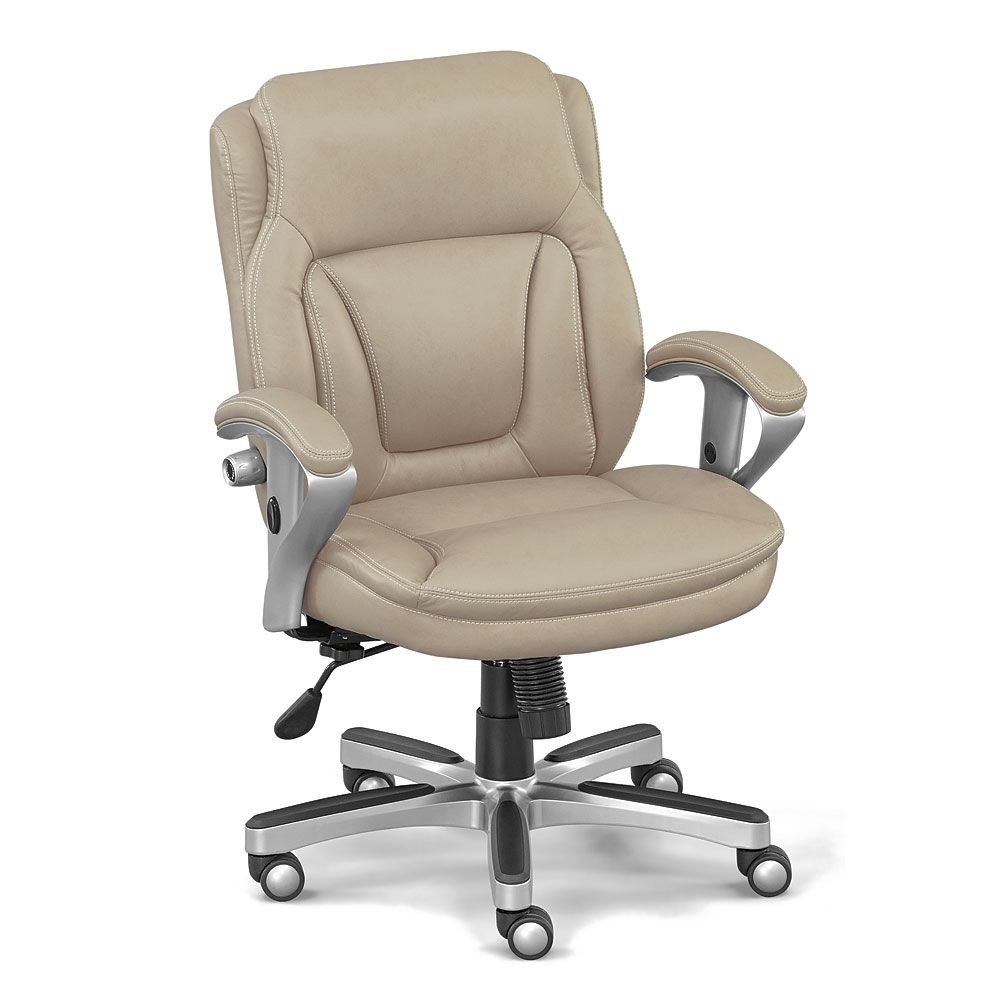 """Petite Computer Chair with Memory Foam Seat Dimensions: 24.75-26.25""""W x 25""""D x 35.25-37.25""""H Seat Dimensions: 21""""Wx18""""Dx18-21""""H Weight: 53 lbs. Taupe Faux Leather/Champagne Finish"""