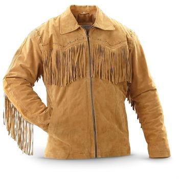 Men S Brown Western Suede Leather Jacket With Fringe Buy Mens