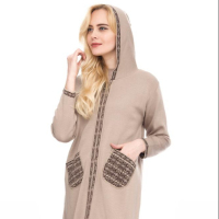 High Quality Best Price Women Knitwear Hooded Cardigan Sweater