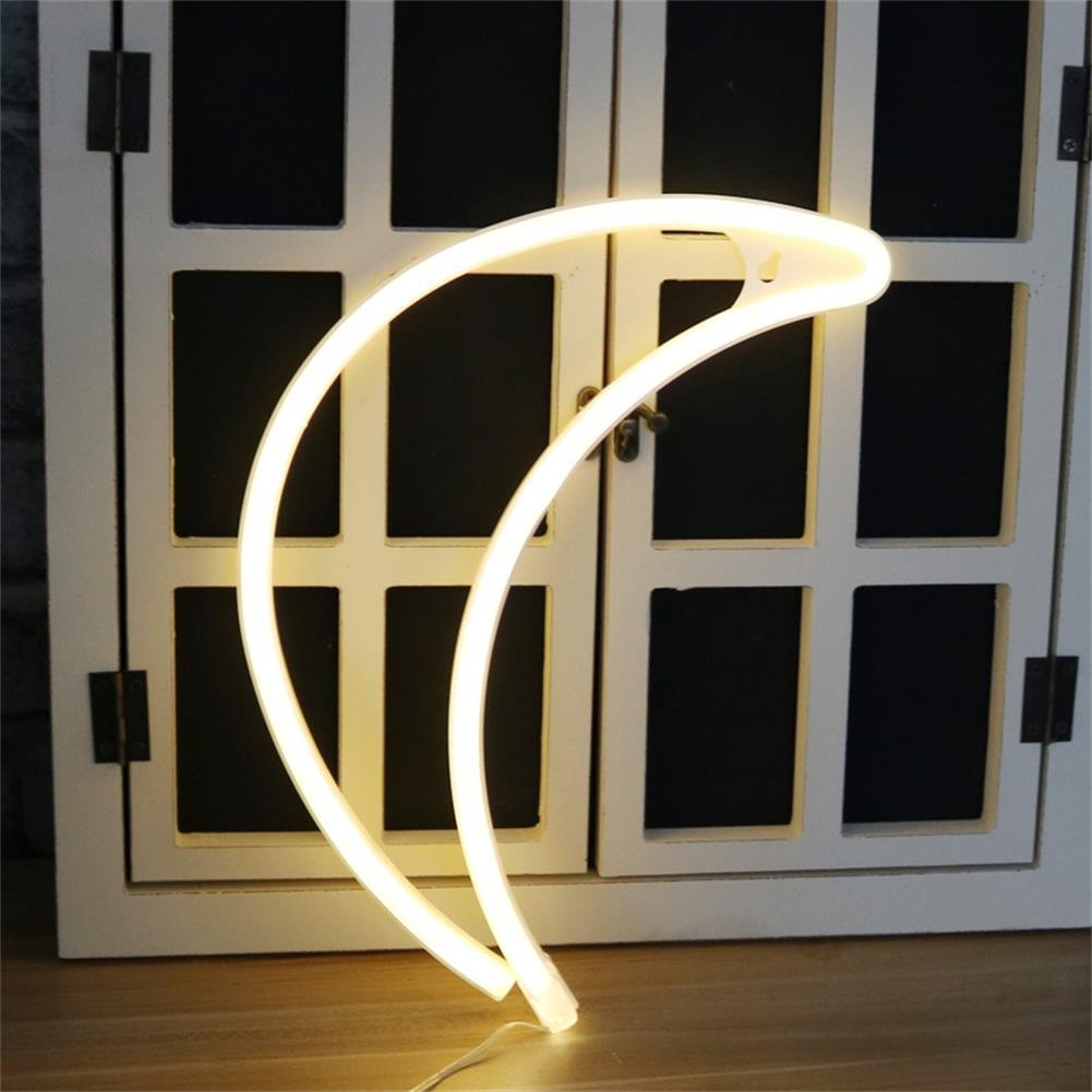 Crescent Neon Light Moon LED Neon Signs Art Wall Lighting Decor for House Bar Recreational, Birthday Party Kids Room, Living Room, Wedding Party … (Warm moon)
