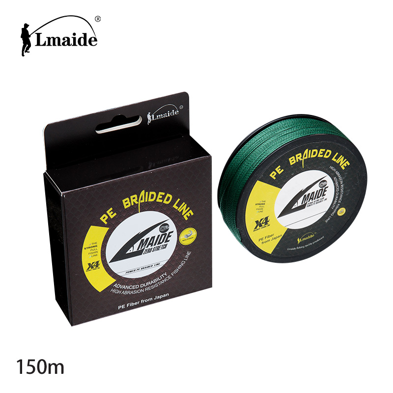 TOP Quality 4 strands 150m PE braided fishing line high strength abrasion resistant reel fishing line 4LB-150LB