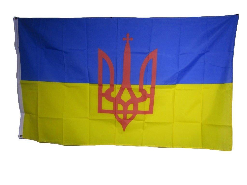 Get Quotations · Ukraine Ukrainian Trident Coat of Arms 3x5 Flag Banner  indoor outdoor 821e2561592a