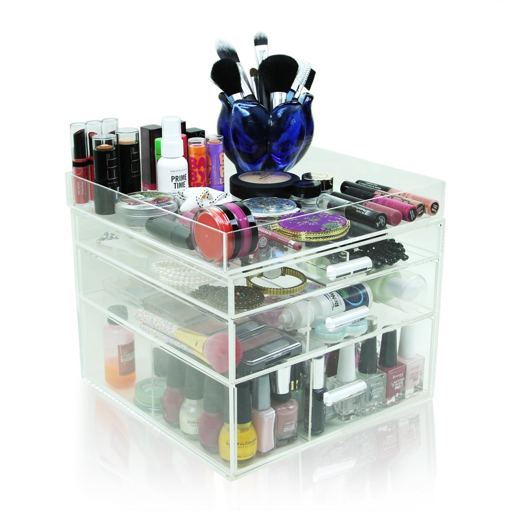 """Houseables Acrylic Makeup Organizer, 3 Drawers, 11x11x9.5"""", Clear Cube Case, Cosmetic Beauty Storage, Make Up Holder, Vanity Display Box, Bathroom Dresser Jewelry Collection Organizer w/ Top Tray"""