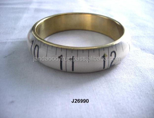 White Resin Bangle with Measuring tape patterns