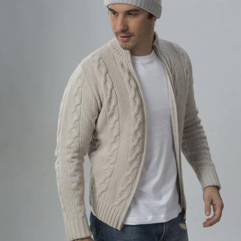 d324838072eca5 100% Cashmere Cable Knit Full Zip Men s Cardigan - Buy Mens ...