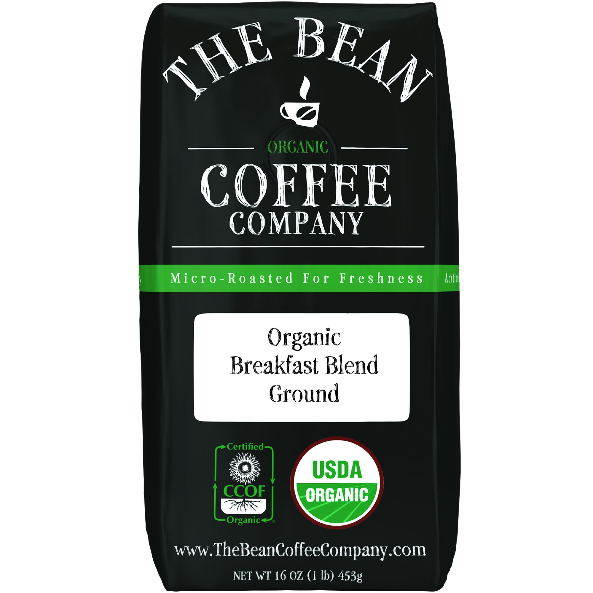 The Bean Coffee Company Organic Breakfast Blend, Light Roast, Ground, 16-Ounce Bag