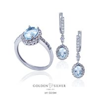 Earring and Ring Sets silver 925 jewelry set natural blue topaz stone