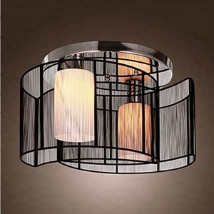 Black Fabric Tiffany Halogen Ceiling Lamp on Dining Room Living Room Restaurant