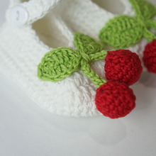 New Style Handmade White Colour Cherry Design Crochet Baby Shoe