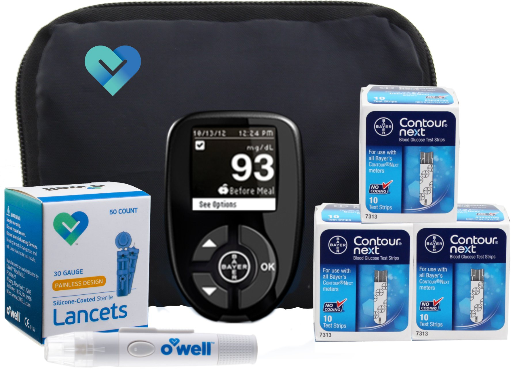 Contour NEXT Diabetes Testing Kit, 30 Count | Glucometer, 30 Test Strips, 30 Lancets, Lancing Device, Manuals, Log Book & Carry Case