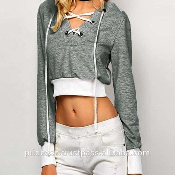 37de01d8221ccd custom crop top long sleeve with hood for women high quality new fashion  low moq