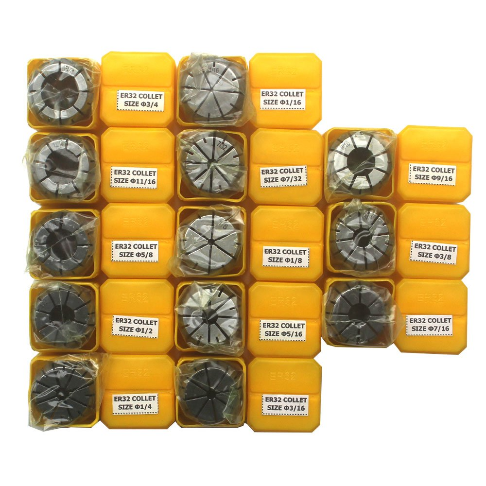 "KIPA 13Pcs ER32 Spring Collet Set 1/16"" 1/8"" 3/16"" 7/32"" 1/4"" 5/16"" 3/8"" 7/16"" 1/2"" 9/16"" 5/8"" 11/16"" 3/4"" CNC Super Precision for CNC milling Lathe Tool & Workholding Engraving machines"