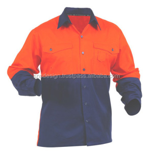 Men's Work Wear Shirt / Uniform/ Bangladesh made Long Sleeve Short Sleeve Reflective Safety Shirt/ Worker Shirt