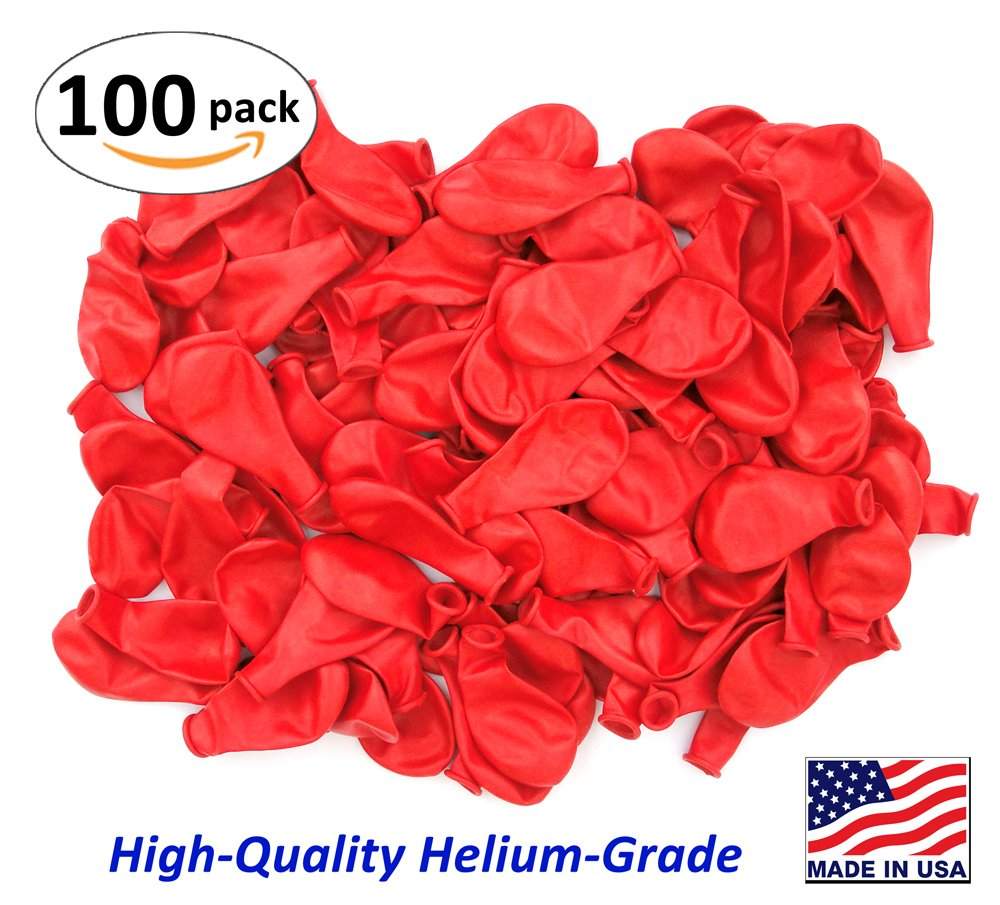 Get Quotations Pack Of 100 Bright Red Color Latex Balloons Made In Usa