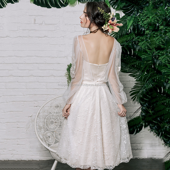 bccc6ac95d2a Bishop Sleeve Mini Skirt Chiffon Wedding Dress/ Sexy Illusion Wedding Dress  with Floral Lace Overlay