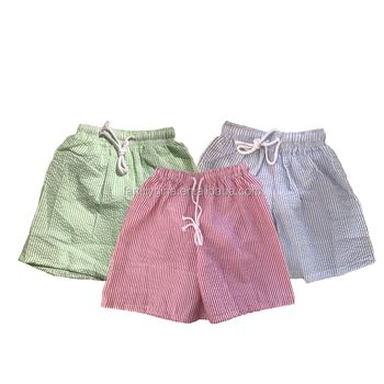 Wholesale Toddler Seersucker Monogram Boys Swim Trunk