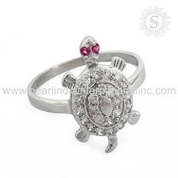 Ruby White Cz Combination Turtle Silver Rings Trendy Gemstone Silver