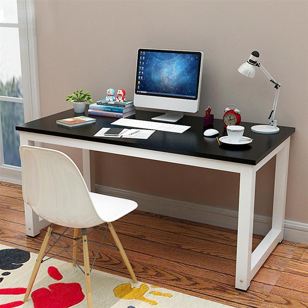 Yaheetech Simple Design Computer Desk Dining Table Writing Desk Workstation Wood Desktop Metal Frame Modern Home Office Furniture