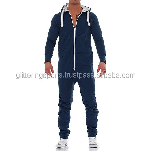 Promotion fleece romper adult men full face zip hoodie men s hooded pajama  rompers zipper black Jumpsuit for male a25fd90eb