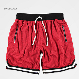 Athletic Red Basketball Short Mesh Construction Striped Trim Elastic Waistband Drawstring 100% Polyester Custom Gym Shorts