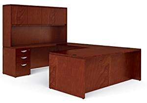 "Offices To Go U Shaped Desk W/Hutch Dimensions: Office Desk 72""W X 36""D X 29""H, Bridge 48""W X 24"", Credenza 72""W X 24""D X 29""H, Hutch 72""W X 15""D X 42""H - Cordovan"