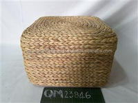 2017 hot selling water hyacinth cushion 100% natural seagrass stool safety material wicker home furniture
