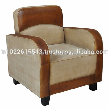 Industrial Leather & Canvas Sofa,Vintage Fabric And Leather Single Seater  Sofa - Buy Fabric And Leather Combination Sofas,Mixed Leather And Fabric ...