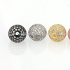 High quality gold plated CZ micro pave brass ball beads cubic zircon ball Silver Jewelry Findings