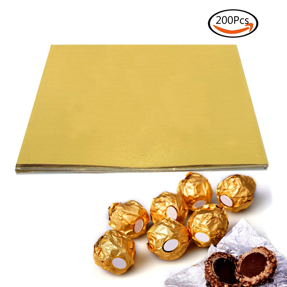 """BAKHUK 200pcs 4"""" Square Gold Aluminium Foil Paper Candy Wrappers Chocolate Wrappers for Packaging Candies and Chocolate"""