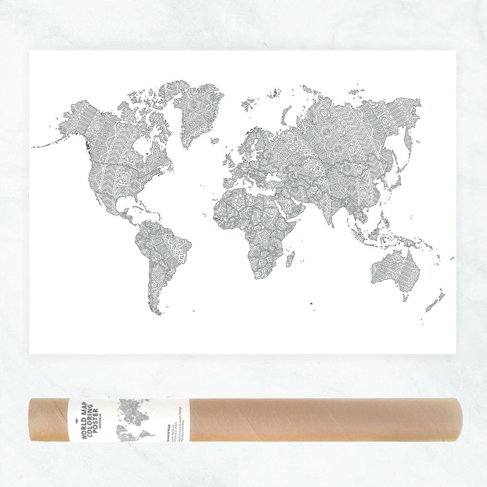 Mandala Dünya Haritası Poster Mandala Yetişkin Boyama Sayfaları
