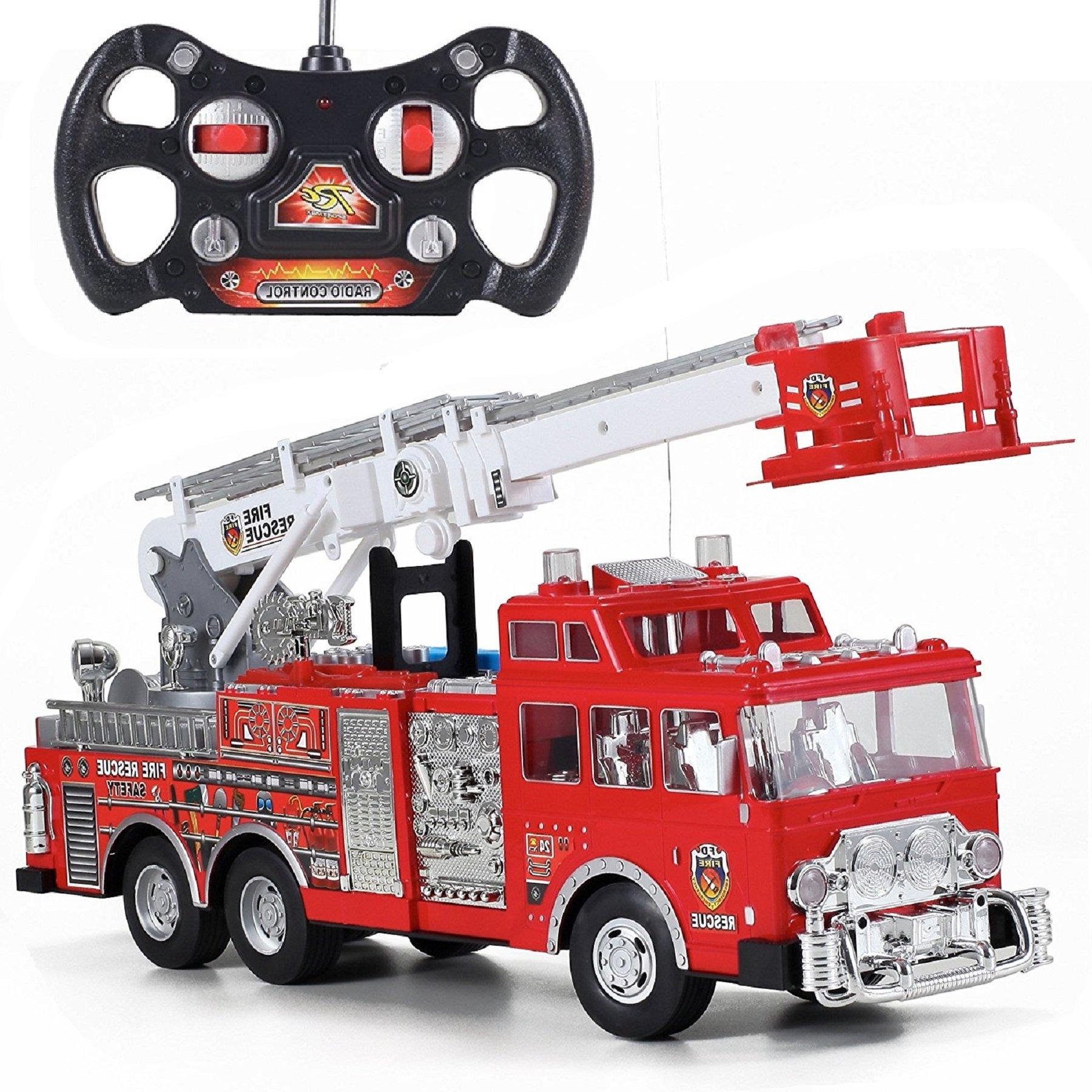 Prextex 13'' Rescue R/c Fire Engine Truck Remote Control Fire Truck Best Gift Toy Boys Lights Siren Extending Ladder