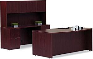 """Offices To Go Executive Desk W/Hutch Bow Front Executive Desk 71""""W X 36/41""""D X 29 1/2""""H Credenza 71""""W X 24""""D X 29 1/2""""H Hutch 71""""W X 15""""D X 36""""H Includes Slkb Keyboard Tray - American Mahogany"""