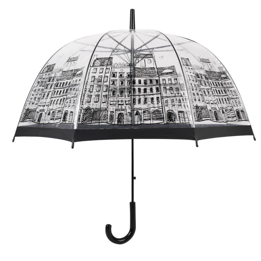 Conch Umbrellas 1265AXRed Bubble Clear Umbrella Dome Shape Clear Umbrella