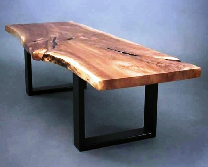 Industrial Vintage Iron Metal Solid Wood Acacia Live Edge