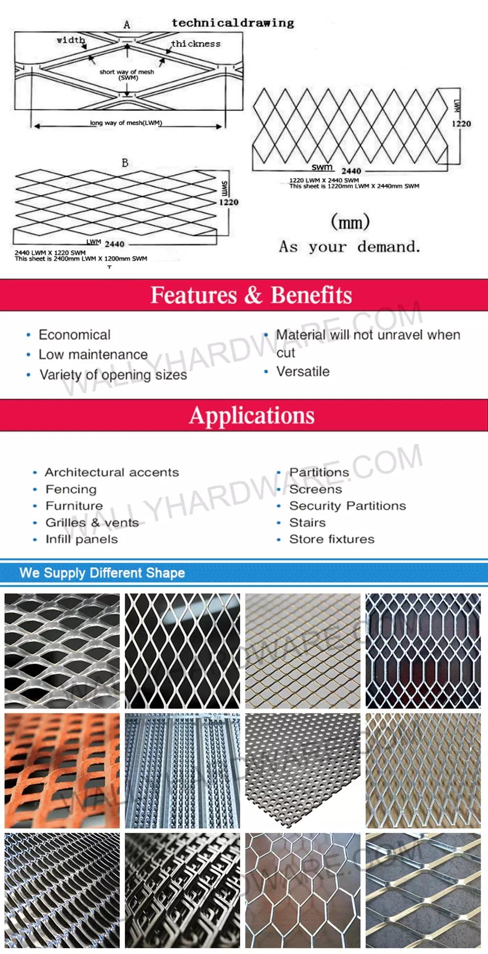 Fabrika Toptan Yüksek Kalite Genişletilmiş dekoratif alüminyum metal örgü