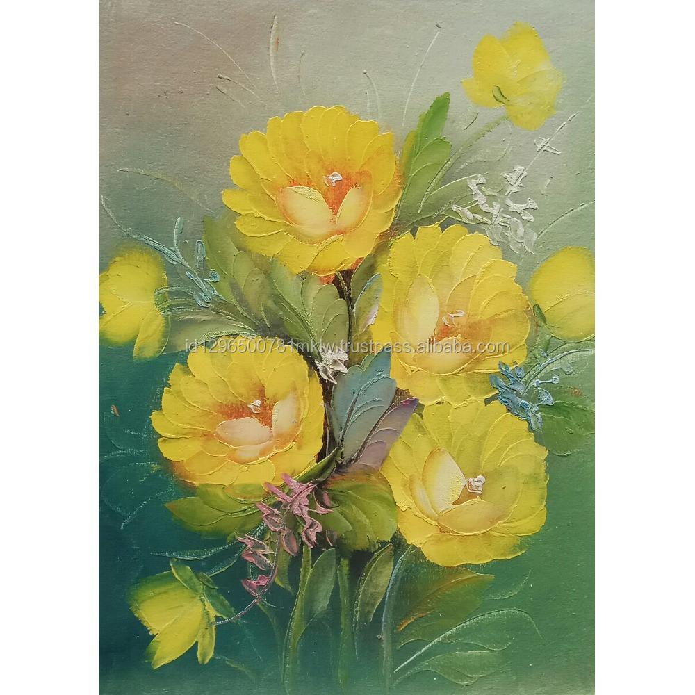Handmade Realistic Bali Yellow Rose Flower Painting On Canvas Modern ...