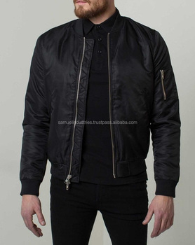 a832a58d5c7 Mens Nylon Bomber Jacket with Silver Zippers in Black Satin Black  Lightweight Varsity Jacket with pouch