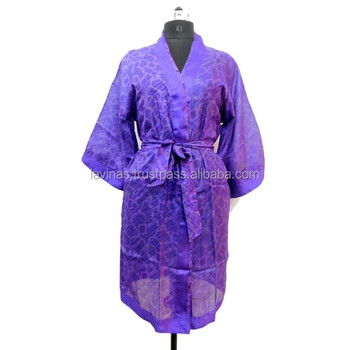 Silk sari women printed recycled kimono hippie casual short robe sleepwear,  View kimono style sleepwear, Lavinas Product Details from LAVINAS on