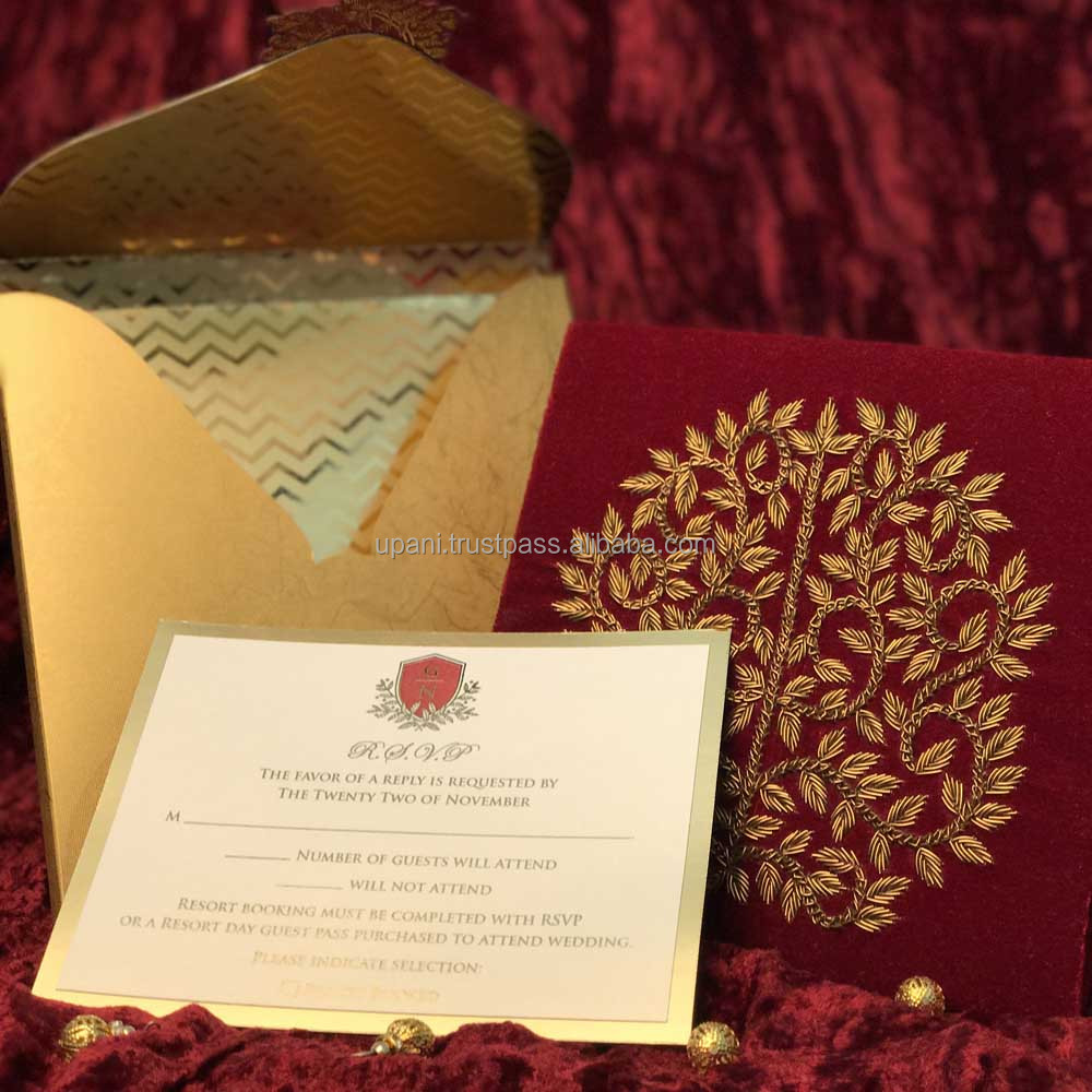 Red Velvet Invitation With Gold Embroidery - Buy Red Velvet ...