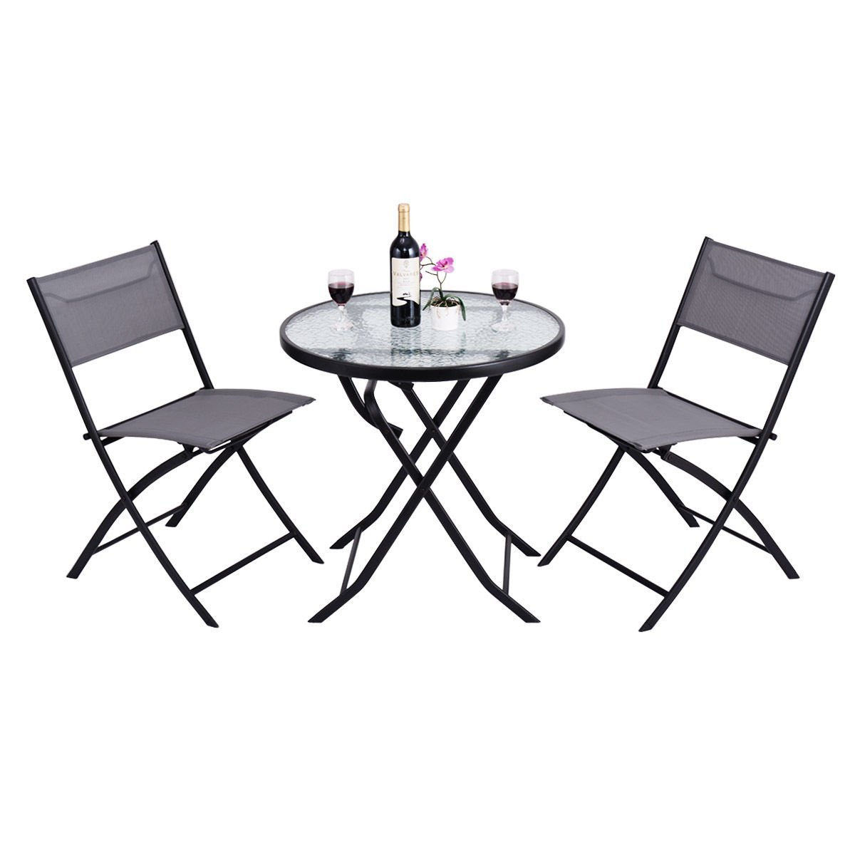Heaven Tvcz 3 Piece Blue Folding Table Chair Set Metal Tempered Glass Outdoor Patio Garden Pool Perfect for outdoor use such as patio, garden or pool