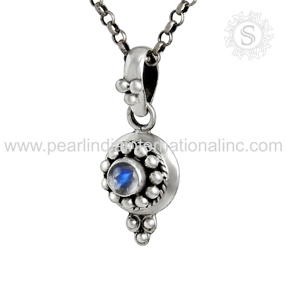 Stylish rainbow moonstone silver pendant wholesaler jewelry 925 sterling silver gemstone pendant manufacturer jewellery
