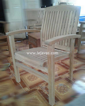 Garden Furniture - Alrescha Stacking Arm Chair Jepara Teak Furniture