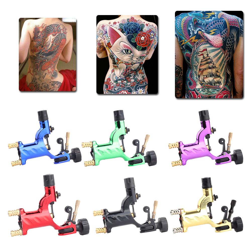 Dragonfly Rotary Tattoo Machine Shader & Liner 7 Colors Assorted Tatoo Motor Gun Kits Supply For Artists with grip with needle