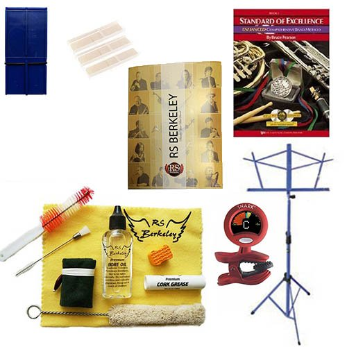 Wood Clarinet Players Mega Pack - Essential Accessory Pack for the Clarinet: Includes: Wood Clarinet Care & Cleaning Kit, Clarinet Reed Pack w/Reed Holder, Music Stand, Band Folder, Standard of Excellence Book 1 for Clarinet, & Tuner & Metronome