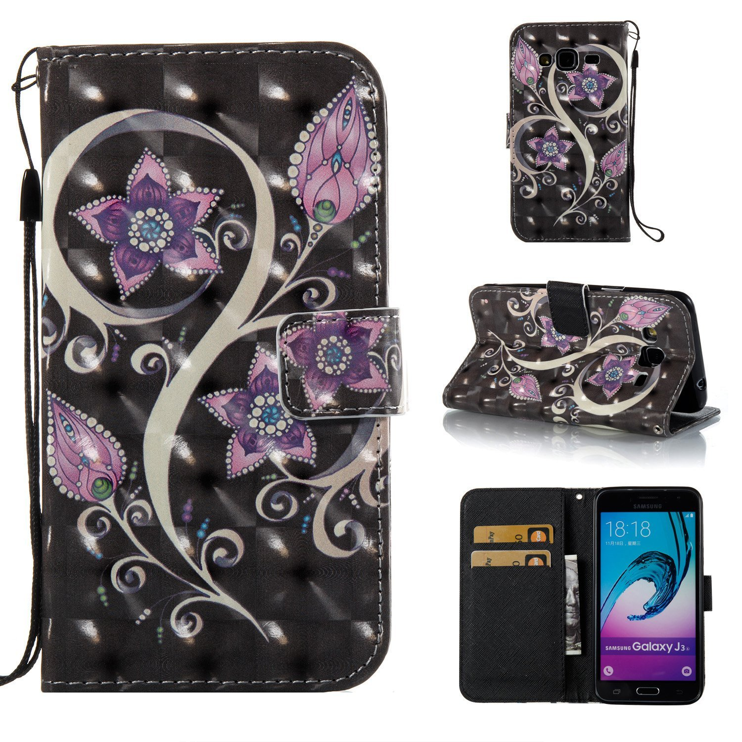Galaxy J3 Case, Galaxy Amp Prime Case, Galaxy Express Prime Case, Ranyi [3D Painting Wallet] [Bling & Shiny Leather] [ID Holder] [Kickstand Feature] Magnetic Flip Folio Wallet Case (peacock flower)