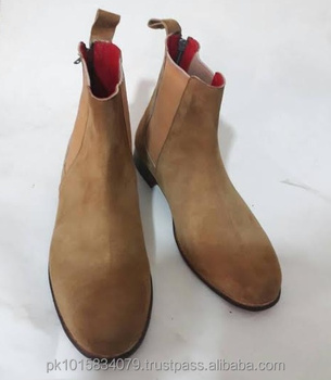 Tan Suede Chelsea Boots With Red Inner Leather Lining Pure Suede