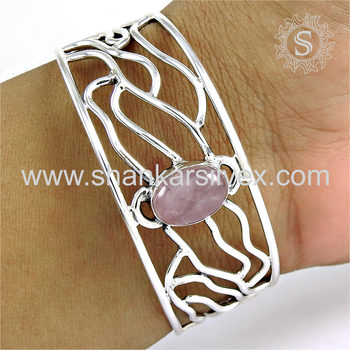 Beautiful rose quartz gemstone bangle handmade 925 sterling silver jewellery exporters india