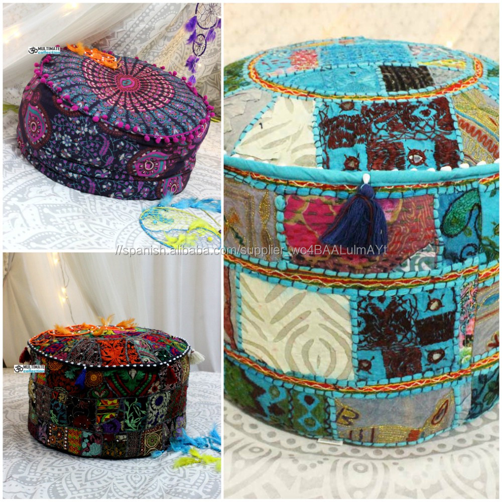 estilo vintage taburete vintage para sillas de estilo hippie Puf redondo indio de retazos otomanos decoraci/ón de piso para decoraci/ón del hogar hecho a mano